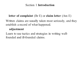 chapter eleven complaints and adjustments section 1 introduction