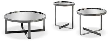 mirrored end table set modrest wilcox contemporary mirrored coffee table set