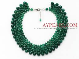 green agate necklace images Elegant style faceted green agate crocheted graduated choker jpg