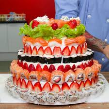 tasty this is a sushi wedding cake via bring me