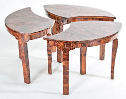 vintage burl inlaid round drinks table in 3 parts c 1960