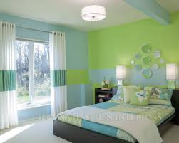 Bedroom Interior Color Ideas by Clever Use Of Paint Creates Room U0027s Design Green Bedding Bald