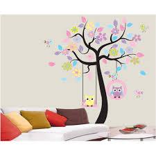 lovely cartoon couple cute owl swing tree colorful removable wall lovely cartoon couple cute owl swing tree colorful removable wall stickers diy wallpaper mural kids children