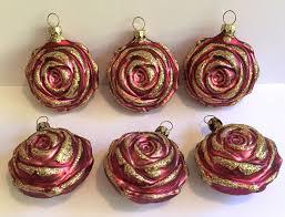 box 6 blown glass purple roses flowers gold glitter christmas