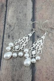 teardrop chandelier earrings bridal filigree chandelier earrings with teardrop pearl amanda