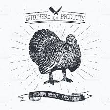 butcher shop vintage emblem turkey meat products butchery logo