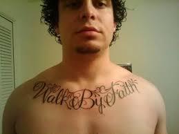 popular walk by faith text design on s collarbone
