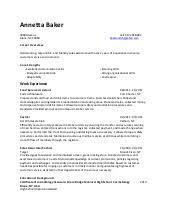 Baker Resume Sample by Annetta Baker Resume