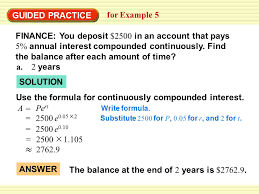 example 5 model continuously compounded interest a u003d pe rt