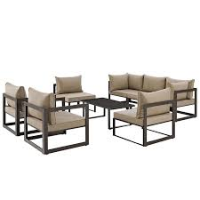 patio sectional sofa modway furniture modern fortuna 8 piece outdoor patio sectional