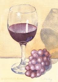 wine glass painting glass of wine and grapes vertical
