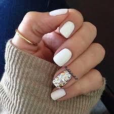 white ring finger nail art design styles 2017