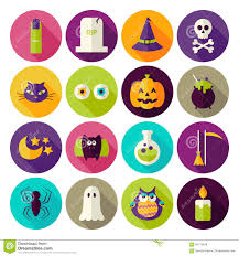free halloween icon flat halloween trick or treat circle icons set with long shadow