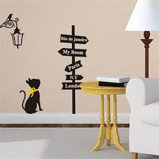 Cheap Home Decor From China Black Cat Road Sign Wall Sticker Decals Home Decor Vinyl Art