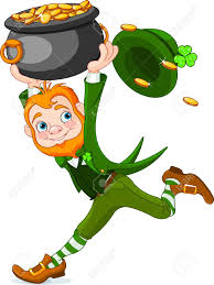 cute cartoon leprechaun running with pot of gold royalty free