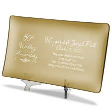 personalized anniversary plates wedding anniversary personalized gold glass tray