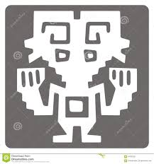 monochrome icon with peruvian indians and ethnic ornaments
