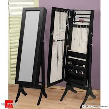 Mirrored Storage Cabinet Wooden Mirrored Jewellery Full Length Storage Cabinet Black