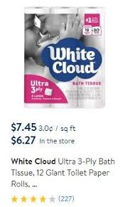 White Cloud Bathroom Tissue - white cloud bath tissue at walmart as low as 0 09 per regular roll
