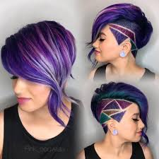 side bob with purple slick hair and hair design
