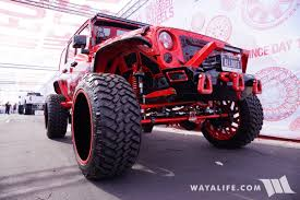 red jeep 2017 sema american force wheels allout offroad red jeep jk