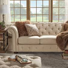 Sofas Chesterfield Knightsbridge Beige Fabric Button Tufted Chesterfield Sofa And