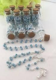 communion favors 12pc baptism communion favors party glass bottle rosary blue