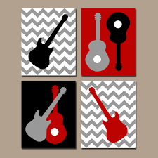 Rock N Roll Crib Bedding by Guitar Wall Art Music Theme Nursery Big Boy Bedroom Pictures