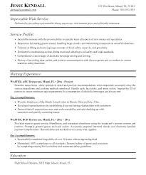 Resume Template Restaurant Wait Staff Resume Sample Entry Level Bar Staff Resume Template