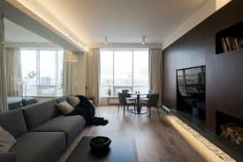 Glass Partition Between Living Room And Kitchen An Ultra Modern Moscow Apartment With A Glass Wall Between Bedroom