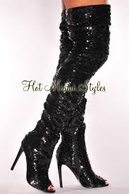sequins ruched thigh high peep toe boots