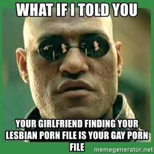 Lesbian Porn Meme - what if i told you your girlfriend finding your lesbian porn file is