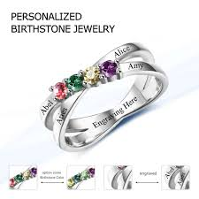 mothers birthstone rings aliexpress buy family friendship ring engrave names custom