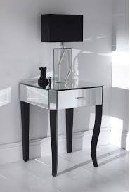 luxury glass top mirrored nightstand ideas with single drawers