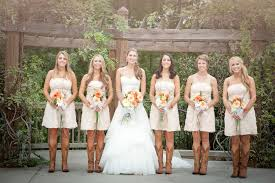bridesmaid dresses with cowboy boots rustic wedding with bridesmaids in cowboy boots cowboy weddings