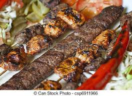 cuisine turque kebab selection of traditional kebab meatball kofte stock