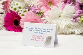 wedding favours created exclusively for cancer research uk