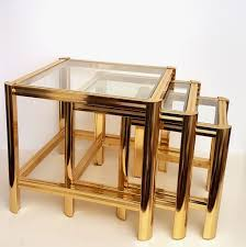 1980s furniture italian gold plated nesting tables with cut glass 1980s for sale