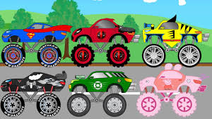kids monster truck videos superman peppa pig and other monster trucks parking monster