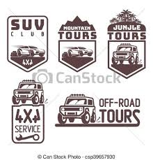vectors of suv 4x4 off road travel tour club icon logo template