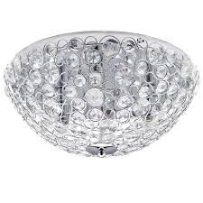 ovii 3 light bathroom semi flush ceiling light chrome u0026 glass