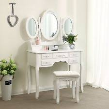 Folding Vanity Table Tri Folding Mirror Black Wood Vanity Set Makeup Table Dresser 4