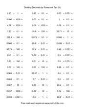 dividing decimals by powers of ten h 5th 6th grade worksheet