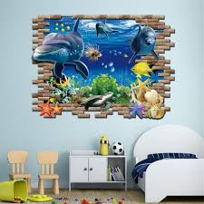 stickers muraux pour chambre 3d mer whale poisson stickers muraux pour chambre d enfants