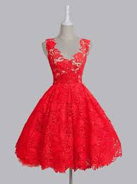 buy vintage a line scoop sleeveless red green backless lace knee