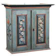 Swedish Painted Furniture Antique Large Swedish Painted Pine Hanging Cabinet