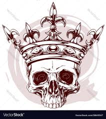 graphic color human skull king crown vector image