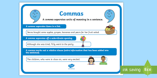 commas punctuation poster commas punctuation literacy