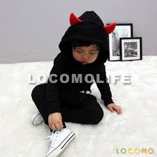 kids halloween devil costumes kid unisex devil costume two piece hoodie pant set black m