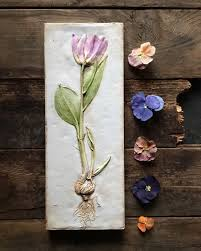 Gifts For Home Decoration Pink Tulip Botanical Art Plaster Cast Flower Art Cottage